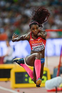 Caterine Ibargüen Colombian athlete competing in high jump, long jump and triple jump