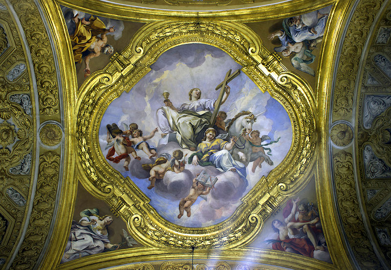 Ceiling on the first right chapel in San Carlo al Corso (Rome) HDR.jpg