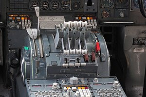 Thrust lever - Thrust levers in a Boeing 747 Classic. The center and rear levers are used during flight, while the forward levers control reverse thrust.