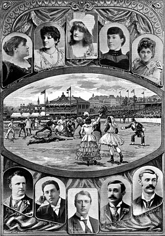Women's Australian rules football - Nellie Stewart and other women playing in a charity football match, 1894, East Melbourne Cricket Ground