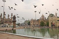 Charminar, Mecca Masjid, Nizamia hospital at Hyderabad, India.jpg