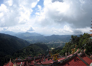 Chin Swee Caves Temple - Panoramic view from the temple towards the Genting Highlands