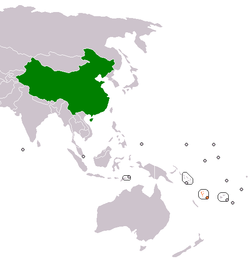 Map indicating locations of China and Vanuatu