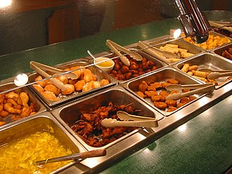 American Chinese cuisine - A Chinese buffet restaurant in the United States