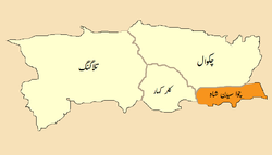 Location of Choa Saidan Shah Tehsilتحصِيل چوآسيدن شاه‬