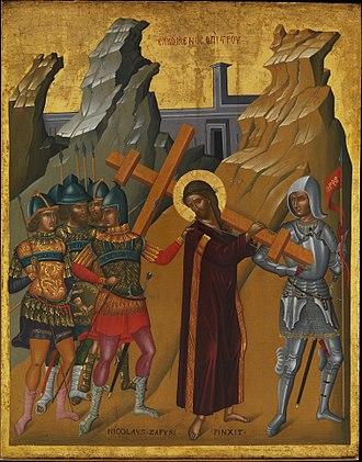 Nikolaos Tzafouris - icon Christ Bearing the Cross by Nikolaos Tzafouris, Metropolitan Museum of Art, New York City