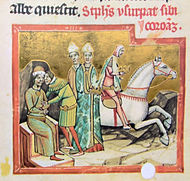 A man wearing a ducal hat sits on the throne speaks with an other man while a horseman is taking the crown