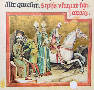 Stephen III of Hungary - Stephen III's uncle, Ladislaus II usurps the throne (from the Illuminated Chronicle)