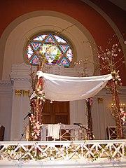 An elaborate chupah at the Sixth & I Synagogue in Washington D.C.