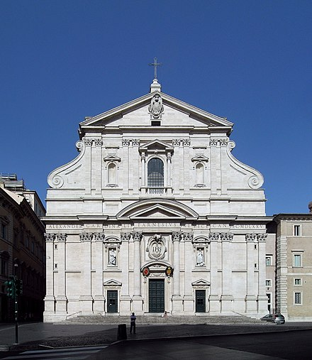 The Church of the Gesu, located in Rome, is the mother church of the Jesuits. Church of the Gesu, Rome.jpg