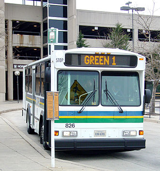 Fairfax City CUE Bus at Vienna, Fairfax, GMU station City-University-Energysaver.jpg