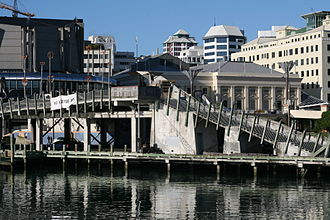 Paratene Matchitt - City to Sea Bridge with Michael Fowler Centre (left) and Wellington Town Hall (right) in background