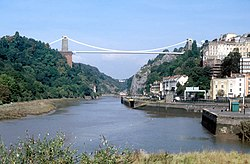 View from Cumberland Basin of the Clifton Suspension Bridge and the Avon Gorge