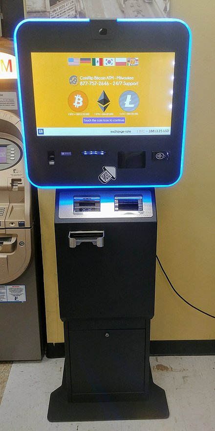 "Cryptocurrency ATM in Peoria, Illinois. This model is a ""two-way"", meaning users may buy or sell Bitcoin and other cryptocurrencies."