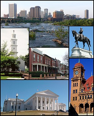 Tap: Skyline abuin the faws o the James River Middle: St. John's Episcopal Church, Jackson Ward, Monument Avenue. Bottom: Virginia State Capitol, Main Street Station