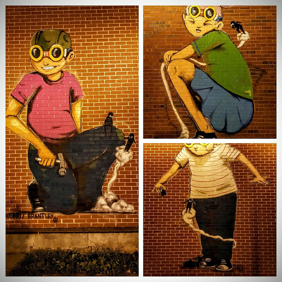 Collage of public street art by Hebru Brantley in the Lincoln Square neighborhood of Chicago.