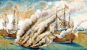 Battle of Toulon (1744) - The British fire-ship Anne Galley, aflame and sinking short of her intended target, the Spanish flagship Real Felipe