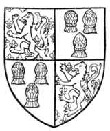 Fig. 45.—Arms of John, Lord Beaumont, K.G. (d. 1396). From his Garter Plate: 1 and 4, Beaumont; 2 and 3, azure, three garbs or (for Comyn).