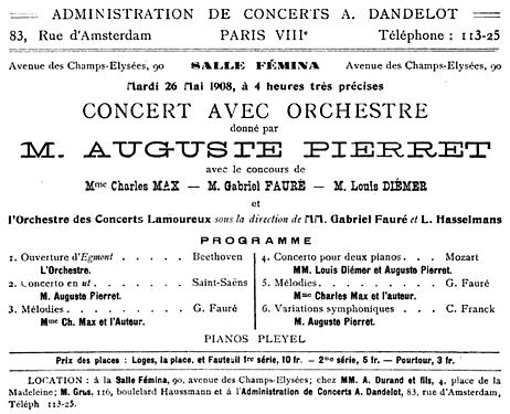 Concert announcement for the Salle Femina in Paris, 26 May 1908 - Le Guide musical - Google Books 2006.jpg