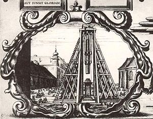 Sigismund's Column - Construction of the Sigismund's Column, detail of the 1646 engraving by Willem Hondius.