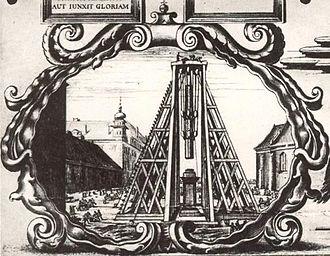 Sigismund's Column - Construction of the Sigismund's Column, detail of the 1646 engraving by Willem Hondius.