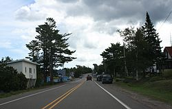 Looking east in downtown Copper Harbor