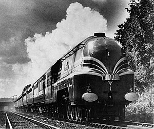 West Coast Main Line - The Coronation Scot in 1937. Hauled by a streamlined Coronation Class locomotive.