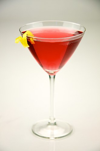 Cosmopolitan (cocktail) - A cosmopolitan garnished with a lemon twist