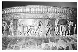 Vix krater, found in Vix in 1953, now displayed in the Musée du Pays Châtillonnais, in Châtillon-sur-Seine