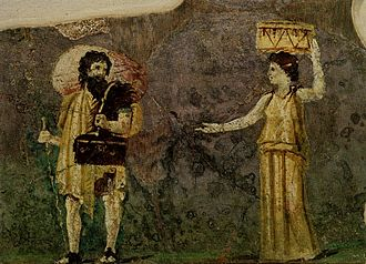 Crates of Thebes - Roman wall painting of Crates and Hipparchia from the Villa Farnesina, Rome. Crates is shown with a staff and satchel, being approached by Hipparchia bearing her possessions in the manner of a potential bride.