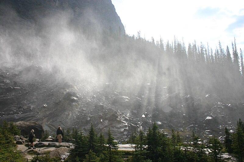 File:Crepuscular Rays Beam through the Mist Blown from Takkakaw Falls.jpg