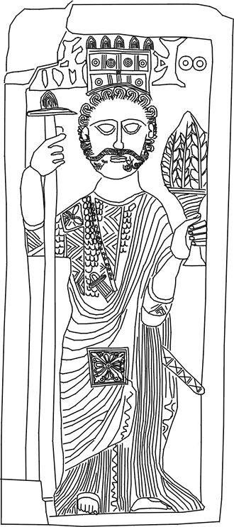 Zafar, Yemen - Relief which shows a man wearing a crown, c. 450 - c. 525 CE?, perhaps a representation of king Sumūyafaʿ Ashwaʿ.