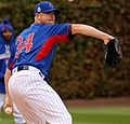 Cubs lefty Jon Lester throws a bullpen session at Wrigley Field. (30621376795) (cropped).jpg