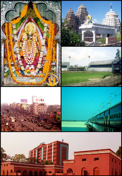 Clockwise from top left: Deity of Chandi temple in Cuttack, Uttareshwar Temple, Barabati stadium, Railway Bridge on Mahanadi river near Cuttack,  Ravenshaw College, Badambadi bus stand centre in Cuttack