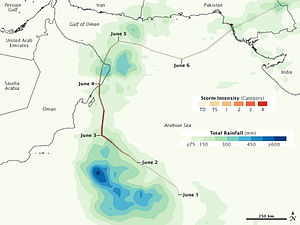 Cyclone Phet - TTRM rainfall map