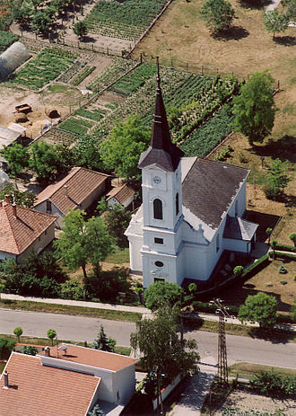 Dabas, Hungary - One of Dabas' church from the air.