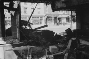 King assassination riots - Damage to a Washington store following the riots.
