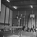 Dames Turnen Nederland tegen Tsjechoslowakije in Arnhem Terborg. Marianna Krac, Bestanddeelnr 919-3173.jpg