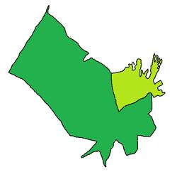 Położenie metropolii Dammam (jasnozielony) w gubernatorstwie Dammam (ciemnozielony)