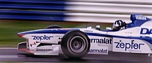 Photo de Damon Hill dans l'Arrows-Yamaha en Grande-Bretagne en 1997