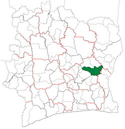 Location in Ivory Coast. Daoukro Department has retained the same boundaries since its creation in 1988.