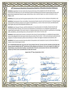 Salt Lake County joint Commemorative Resolution signed by mayor and nine council members