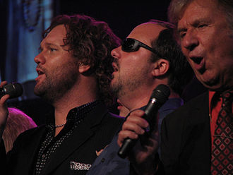 Gaither Homecoming - David Phelps, Gordon Mote, Bill Gaither (left to right) in April 2009
