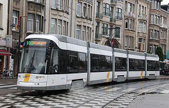 Trams in Antwerp - An Albatros tram in Antwerp, 2016.