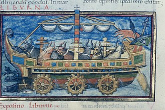 Water wheel - Ox-powered Roman paddle wheel boat from a 15th-century copy of De Rebus Bellicis