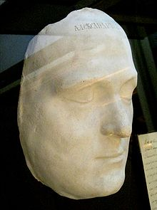 White plaster death mask of Alexander I on display in the Historical Museum in Moscow.