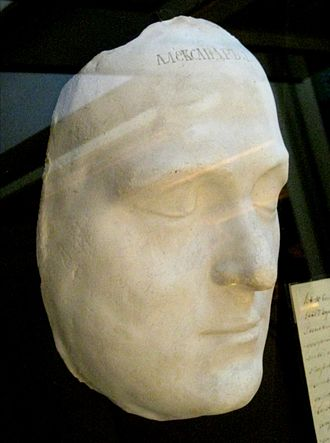 Russian interregnum of 1825 - Death mask of Alexander I. Alexander's death launched a sequence of events that culminated in the Decembrist revolt and the accession of Nicholas I.