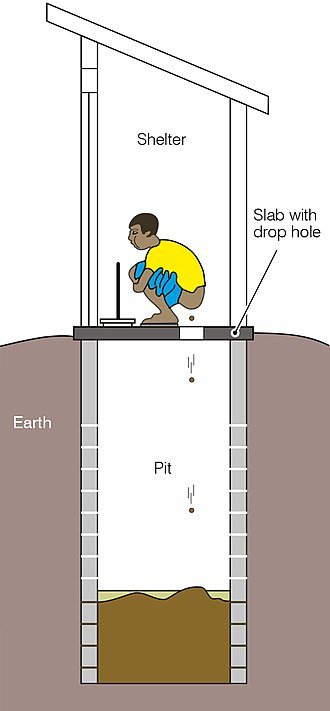 Pit latrine - A simple pit latrine with a squatting pan and shelter