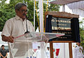 Defence Minister Manohar Parrikar addressing the gathering at the commissioning of INS Vajrkosh.jpg