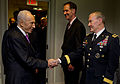 Defense.gov News Photo 120611-D-TT977-147 - Israel s President Shimon Peres greets Chairman of the Joint Chiefs of Staff Gen. Martin E. Dempsey U.S. Army in the Pentagon on June 11 2012.jpg
